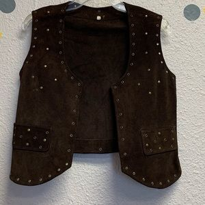 Brown suede brasses vest size 10